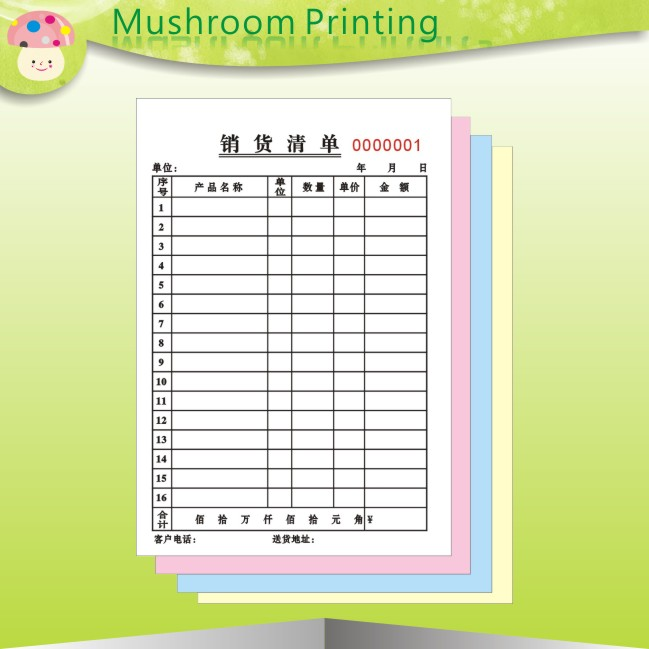Custom carbonless printed paper receipt book print/ custom invoice