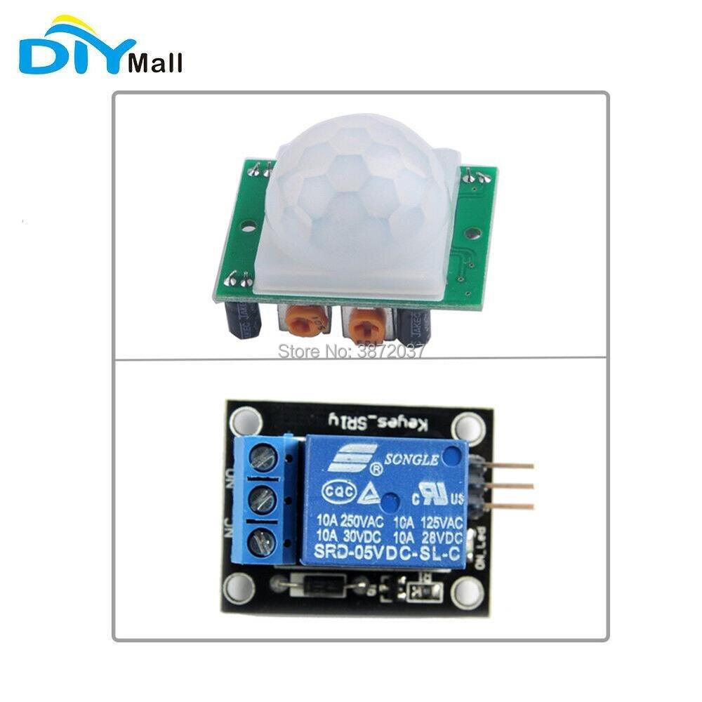 DIYmall HC-SR501 Pir Infrared IR Sensor Body Motion Module 1 Channel Relay Module 5V