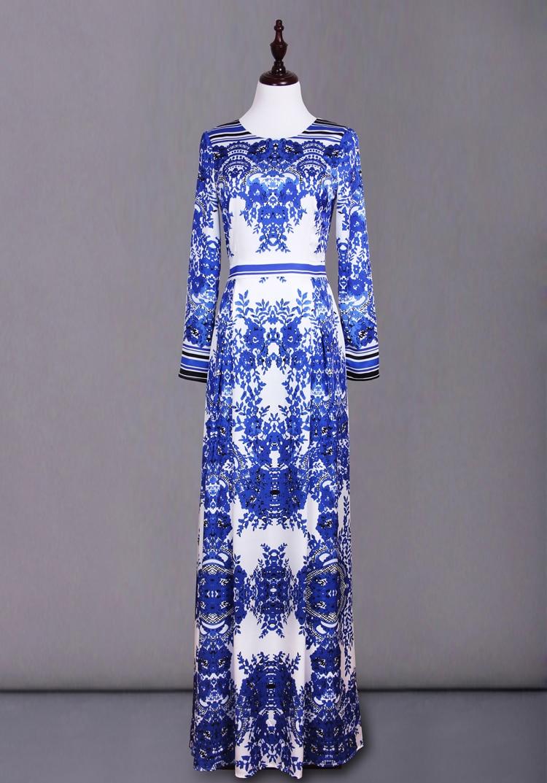 Modré a bílé porcelánové tiskové večírky 2020 Jaro kultivujte něčí morální oblečení Nové evropské šaty z přistávací dráhy
