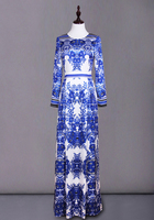 S XXXL Blue And White Porcelain Printing Party Dress 2018 Spring Cultivate One's Morality Clothing New European Runway Dresses