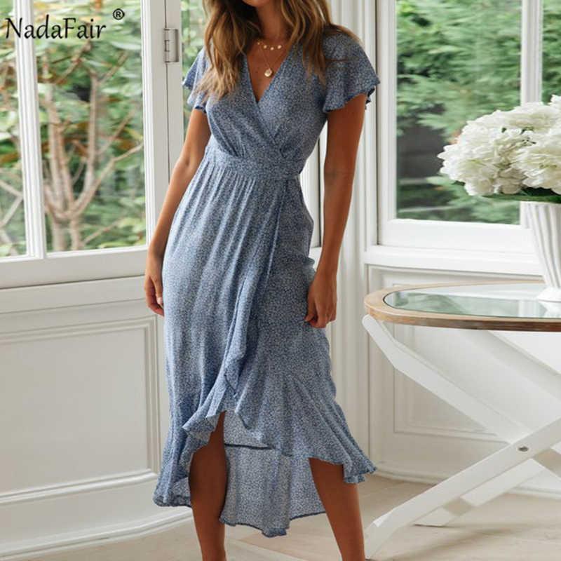 Nadafair/платье миди с цветочным принтом; летнее пляжное платье с оборками в стиле бохо; необычное платье с короткими рукавами и поясом; винтажное сексуальное длинное платье