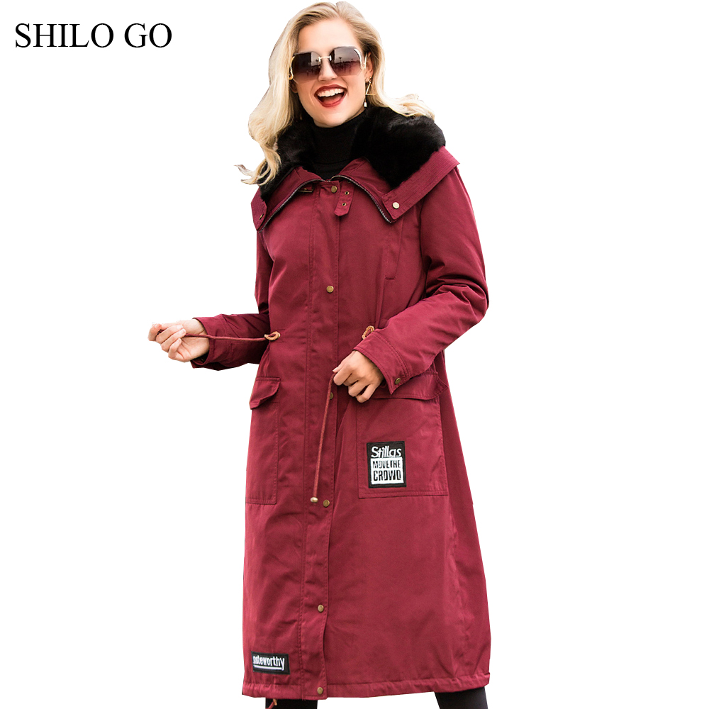 2XL Womens Winter Wine Red Army Green Jacket Coats Thick Parkas Plus Size Real Mink Collar Hooded Mink Long Outwear Fur Coat