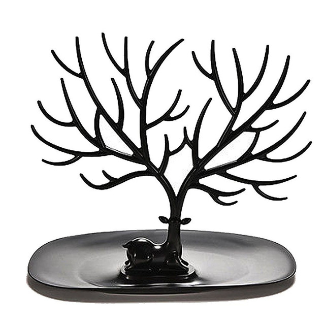Black Jewelry Organizer Stand w Ring Tray Decorative Deer Antler