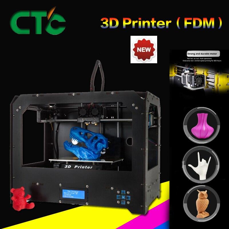CTC Черный 3D принтеры двойной экструдер MK8 фабрики Самые низкие цены PLA