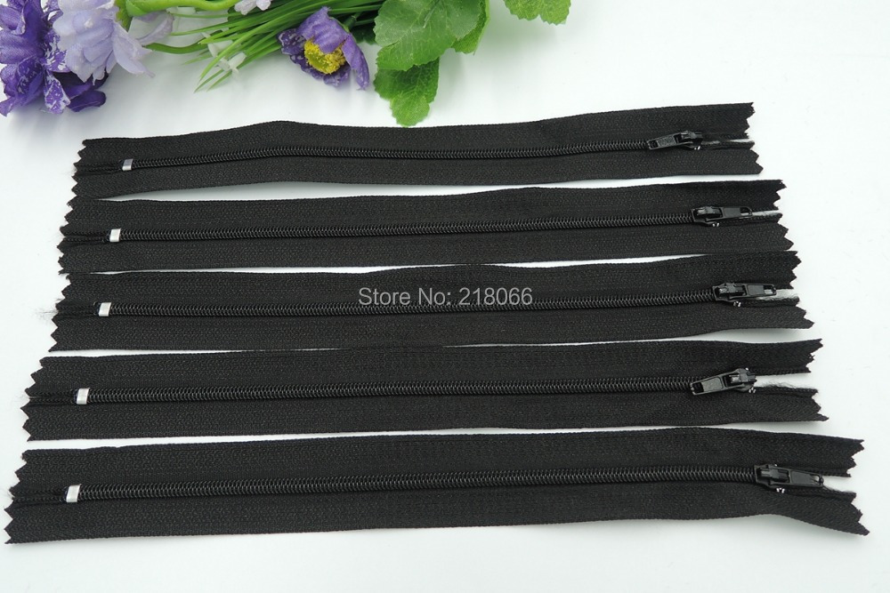 100 Pcs Black Color 35 cm Nylon Coil Zippers Tailor Sewing Tools 14 Inch