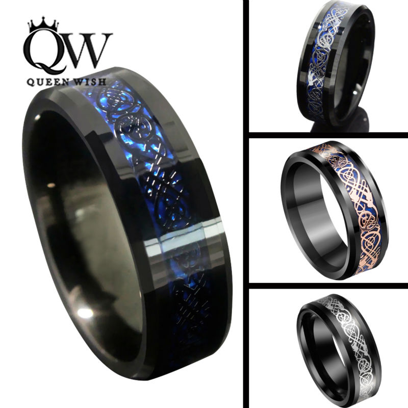 QUEENWISH 8mm Black Tungsten Carbide Ring Blue Silvering Celtic Dragon Inly Matching Wedding Band For Mens Jewelry In Rings From Accessories