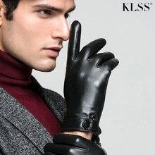 KLSS marka hakiki deri erkek eldiven sonbahar kış artı kadife termal yüksek kaliteli iş rahat keçi derisi eldiven J61