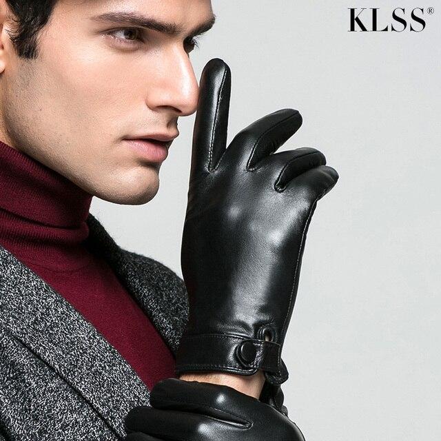 KLSS מותג אמיתי עור גברים כפפות סתיו חורף בתוספת קטיפה תרמית באיכות גבוהה עסקי מזדמן נאד כפפת J61