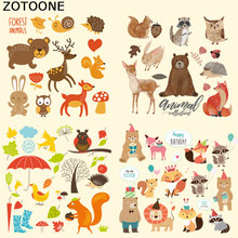 ZOTOONE Cute Forest Cartoon Animal Set Stickers Iron on Patches DIY Child Patch for Clothing Jacket Bag Dress Thermal Transfer C
