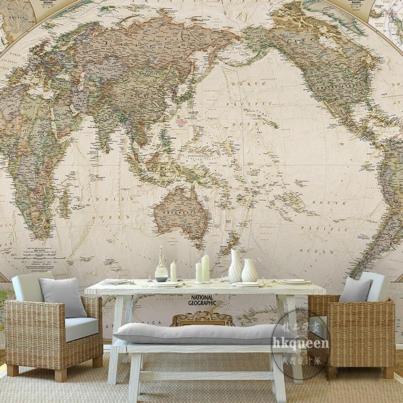 Custom Wall Mural World Map Wallpaper Retro Nostalgia Nautical Route
