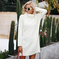 Simplee Turtleneck High Split Knitting Pullover Autumn Winter Long Sleeve 2017 Sweater Women Pull Femme Streetwear