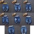 Retail Niños Niñas Pantalones Vaqueros 2016 pantalones de Mezclilla Para Niños kids Casual elástico de la cintura de corte recto jeans Pantalones Largos 8 estilo 2-7Y