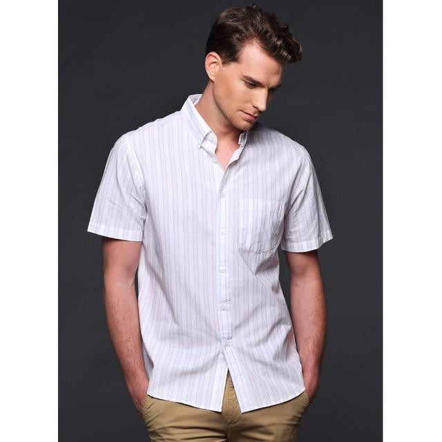 2017 Summer Men Short Sleeve Shirt Cotton Stripe Shirts Men's Clothing Man Business Casual Short-sleeve Shirts Plus Size M-5XL