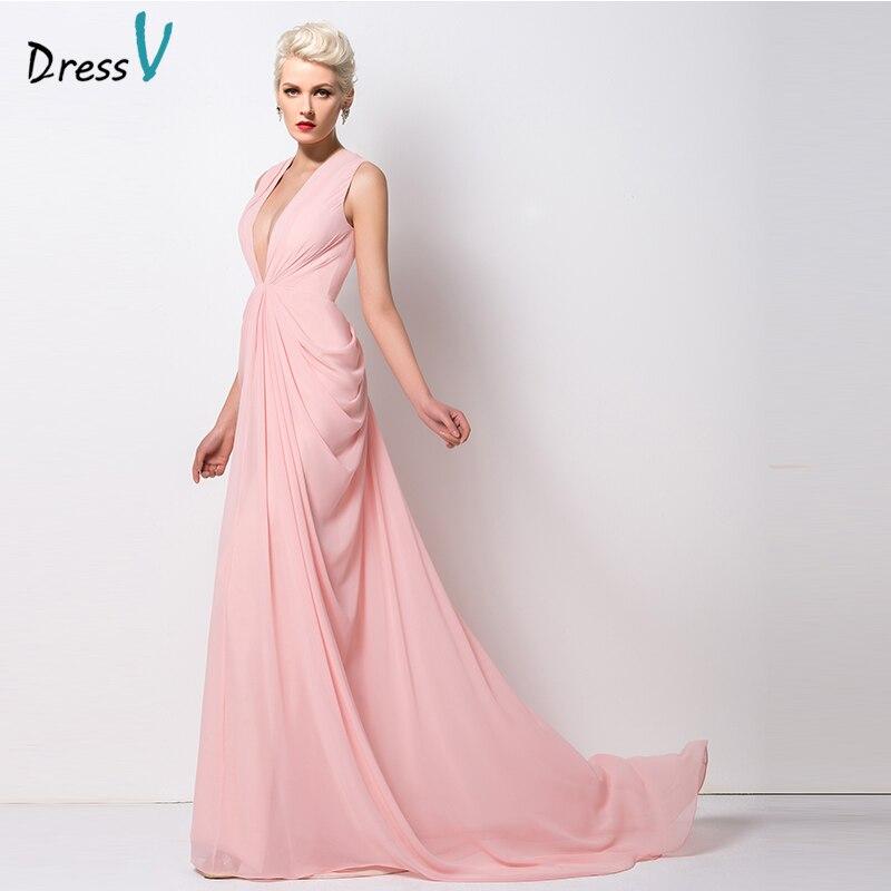 Dressv New Arrival Trumpet/Mermaid Evening Dress 2017 V-Neck Pink ...