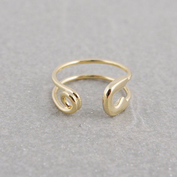 Fashion Fashion Gold color Rings filled zig zag band thumb ring