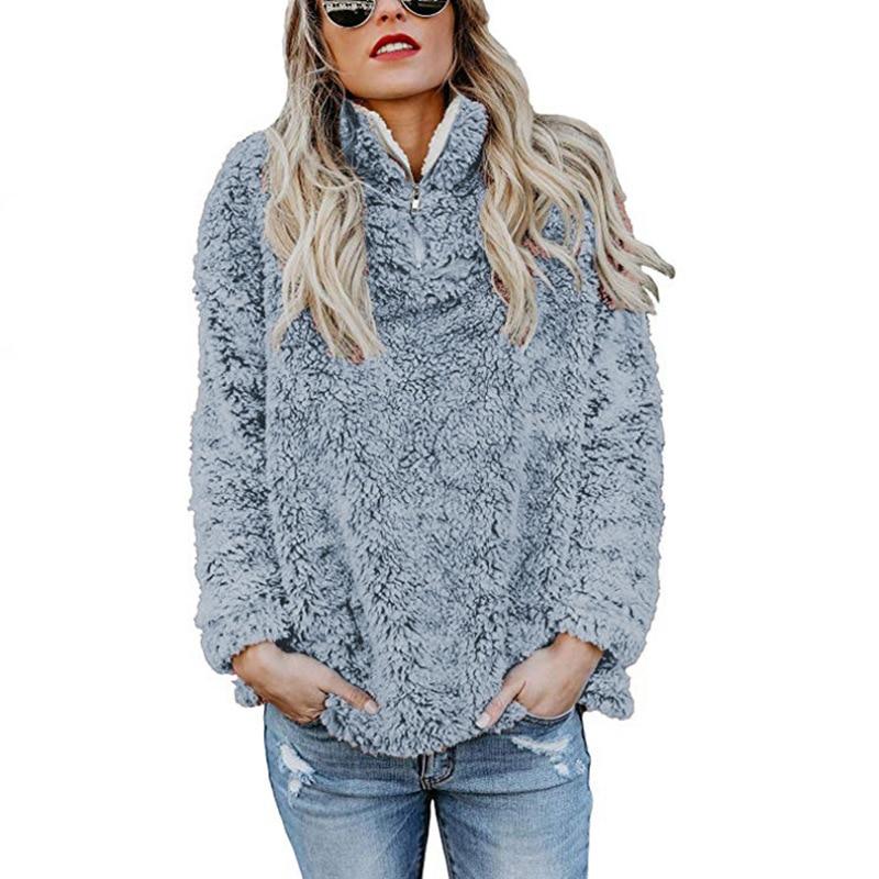 Thick 2018 Autumn Winter Sweatshirt Fashion High Neck Zipper Top Clothing