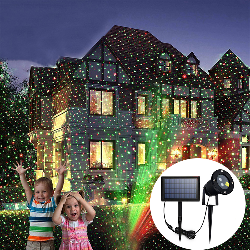 IP65 открытый Панели солнечные лазерный проектор звездного неба фары этапа дождя Рождественский пейзаж садовый свет лампы проектора