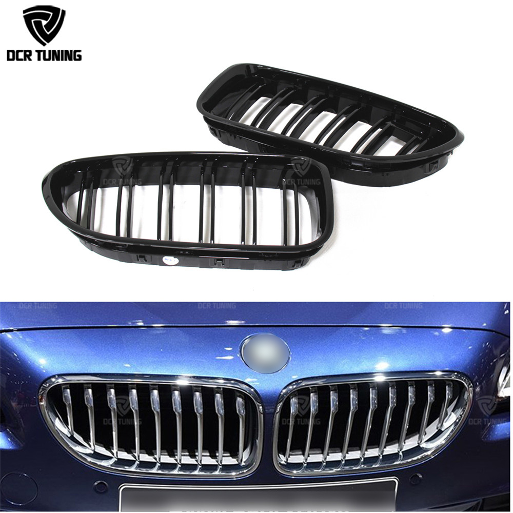 Front Grille For BMW M 6 Series F06 F12 F13 M6 2012 2013 2014 2015 - on bumper grille grill with m6 emblem for 640i 650i 640d dual slats abs front grille for bmw m series f06 f12 f13 m6 2012 2013 2014 2015 on glossy black finish m look