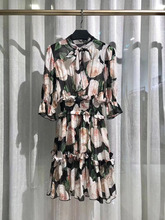 Luxury Italy Dress 2019 Summer Pink Rose Print Ruffles Patchwork Shirred High Waist Elegant Short Sleeve Silk Floral Mini Dress button up shirred waist striped dress
