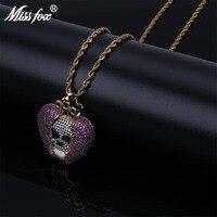 MISSFOX Hip Hop Skull Emo Queen Crown In Purple Broken Heart AAA CZ Stone 24k Gold Plated Chain Personalized Necklaces Pendants