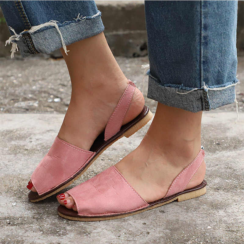 553a94b0 ... Women Flat Summer Sandals Ladies Gladiator Peep Toe Elastic Band Fashion  Platform Shoes Plus Size Female ...