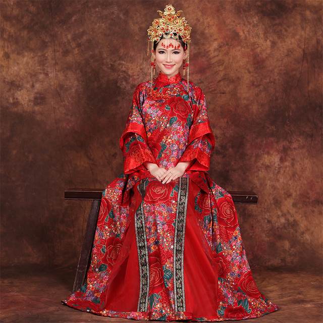2016 Chinese Wedding Dress Bride Wedding Qipao Long Cheongsam Dress Tradicional Orientale Dresses Free Shipping