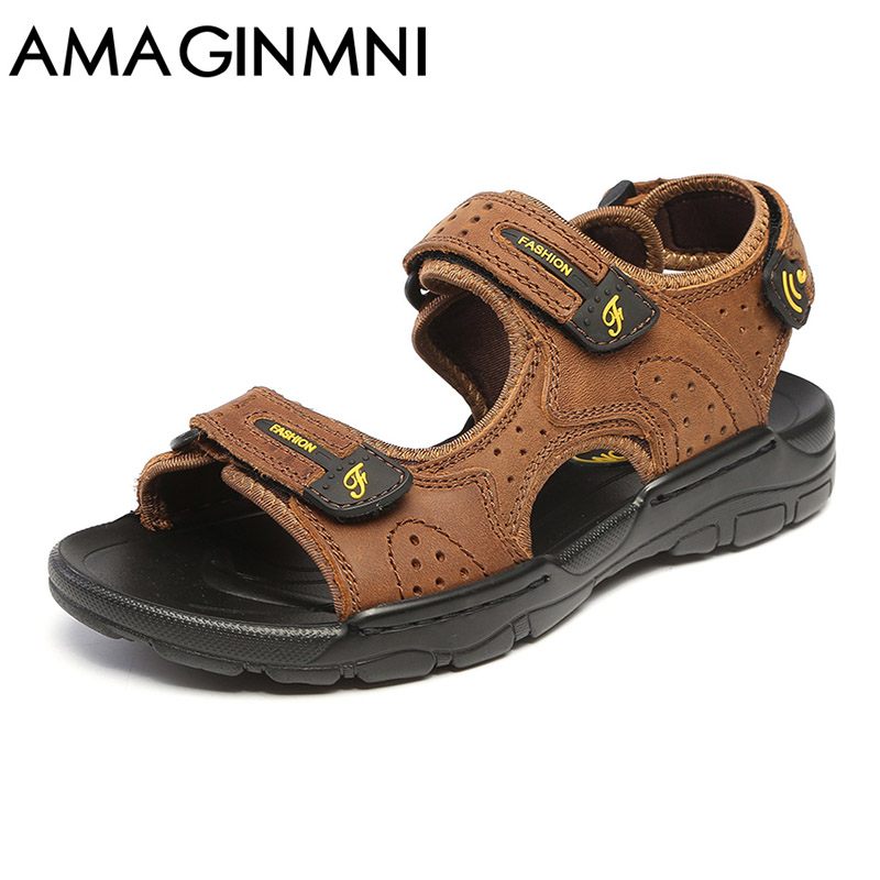 все цены на AMAGINMNI Hot Sale New Fashion Summer Leisure Beach Men Shoes High Quality Leather Sandals The Big Yards Men's Sandals Size38-44 онлайн