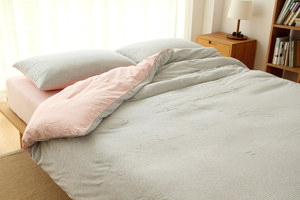 Image 5 - Junwell 100% Cotton Yarn dyed  Jersey Duvet Cover Japanese Style Stripe Design Quilt Cover 1PC And 3PCS Set