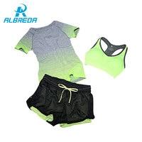 ALBREDA 2017 New Women Yoga Sport Suit Bra Set 3 Piece Female Short Sleeved Summer Sportswear