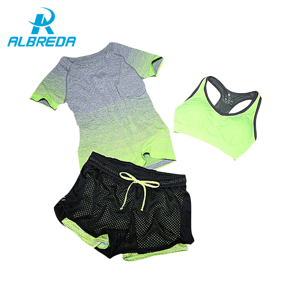 ALBREDA 2018 New Women Yoga Sport Suit Bra Set 3 Piece Female Short-sleeved Summer Sportswear Running Fitness Training Clothing