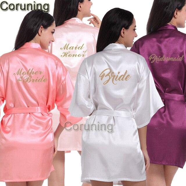 RB85 Maid of Honor Brief Golden Glitter Druck Kimono Roben Faux Silk ...