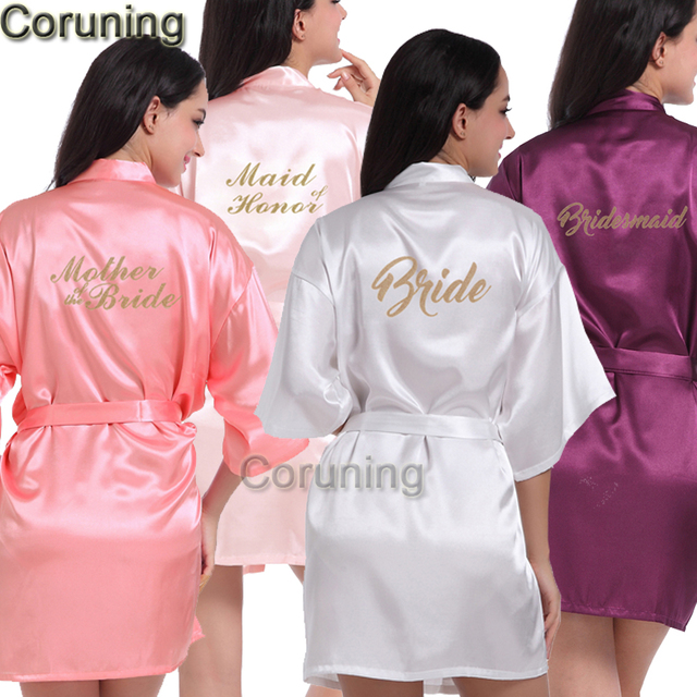 57ab8f10ce RB85 Maid of Honor Letter Golden Glitter Print Kimono Robes Faux Silk Women  Bachelorette Wedding Preparewear