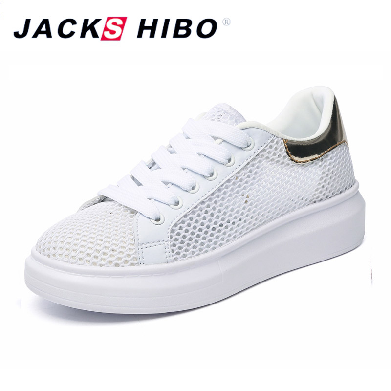 JACKSHIBO Fashion Air Mesh Platform Shoes Women Summer Breathable Footwear Design Bling Heel Female Sneakers Chaussures Femme tesilixiezi new spring summer fashion candy color bling flats platform shoes wegde breathable women casual shoes footwear