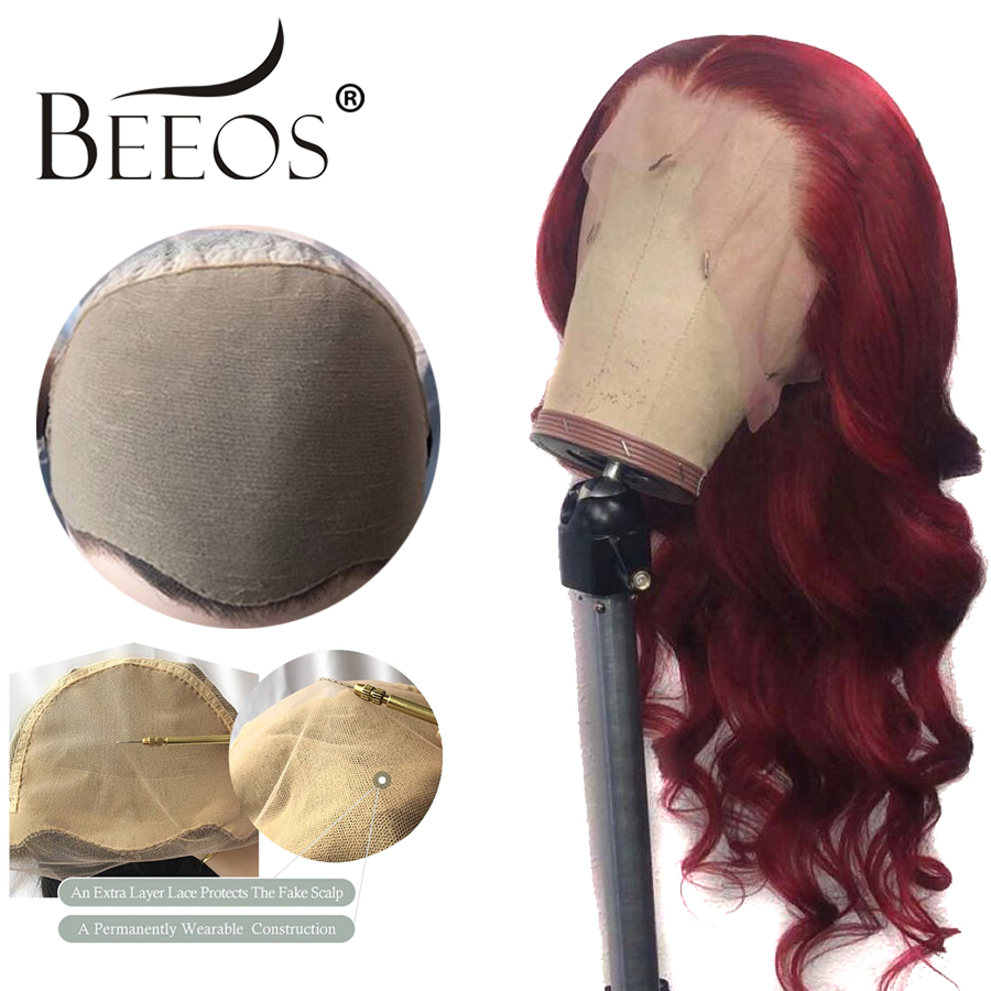Beeos Burgundy 99J Invisible Fake Scalp Cap Lace Front Human Hair Wigs Brazilian Remy 13x6 Deep Part Body Wave Bleached Knots