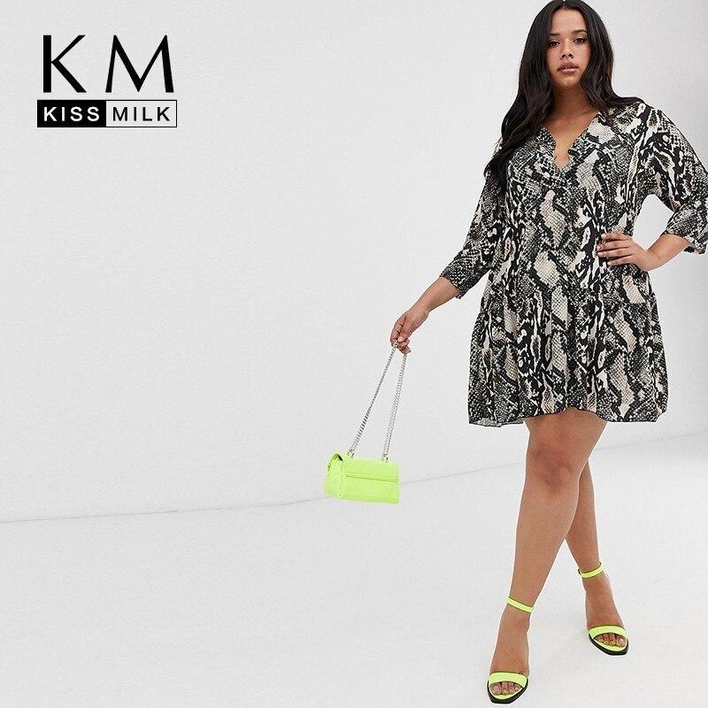 Kissmilk Snake Printing Cross Collar Simple Fashion Large Size 3XL-7XL Vestidos A Type Seven-quarter Sleeve Summer Women Dress