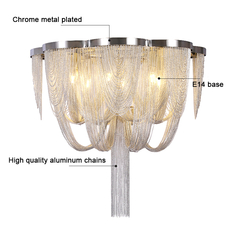 Image 2 - Included LED Bulb E14 Base Fashional Modern Pendant Light Aluminum Chains Pendant Lamps For Dining Room/Hotel/BedroomCeiling Lights   -