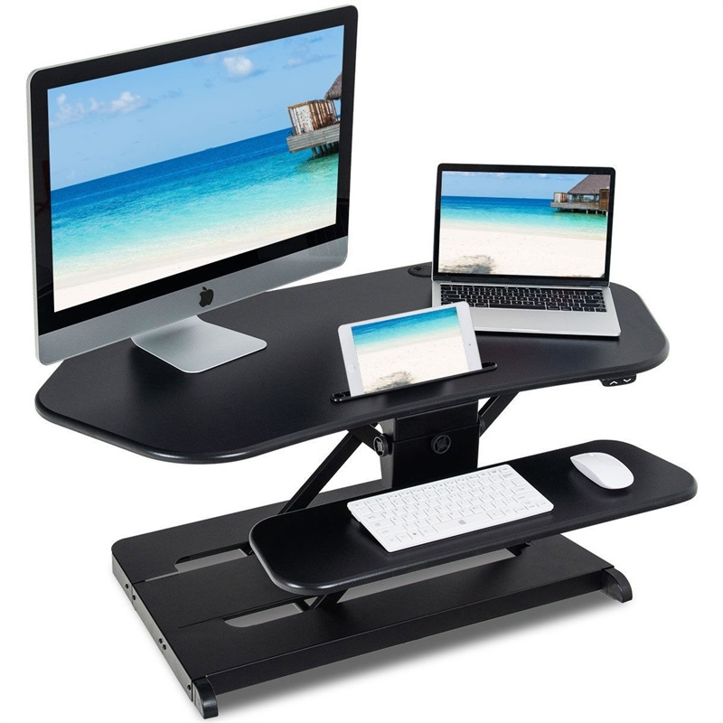 Ergonomic Height Adjustable Tabletop Sit Stylish Two Tier Electric Standing Desk 43