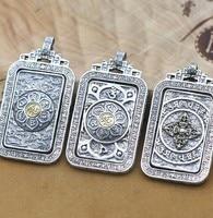 NEW 100% 925 Silver Tibetan OM Mantra Pendant silver Buddhist Dorje Vajra pendant Tibetan Six Words Proverb Pendant