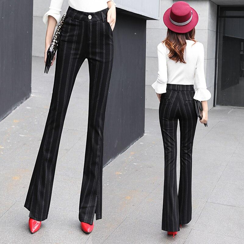 Haute Femme De Skinny Mode Bande Black Corée Qualité Flare Plus Taille Noir Mignon 2017 Hiver La 1 Automne Femmes Vêtements Pantalon 8On8fq
