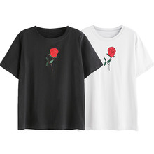 72931a8ae728 chic embroidery rose tshirt women 2018 summer white t shirt streetwear casual  woman tshirt top short sleeves wholesale noAR13