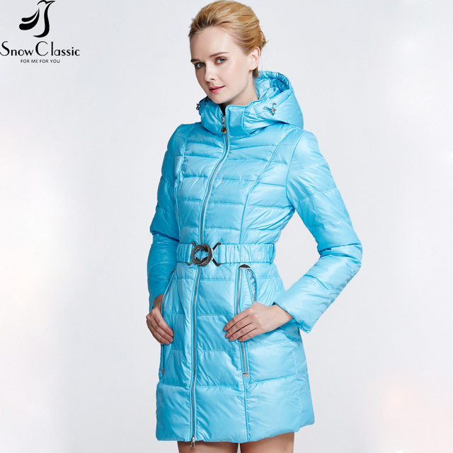 Snow Classic Woman Winter Jackets 2016 Sashes Hooded parkas Winter Coats Parka female Quilted Coat 14420