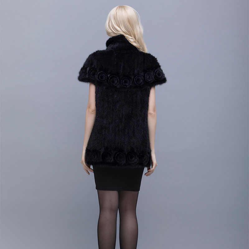 Норковая вязаная шуба вязаный натуральный мех куртка Стильный отворот рукав летучая мышь женщина с цветами зимой теплая одежда L-4XL