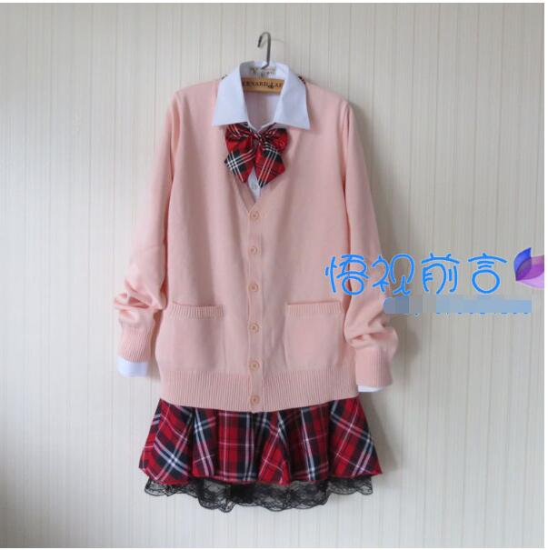 Hot Sweet Women Lolita Japanese School Uniform Pink Sweater Cardigan Latticed JK Uniform Skirt Outwear Suit XXXL