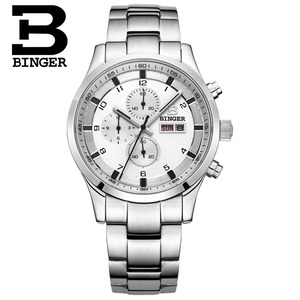 Image 4 - שוויץ גברים של שעונים ספיר BINGER שעון גברים מותג יוקרה קוורץ זכר שעון עמיד למים זוהר שעוני יד הכרונוגרף
