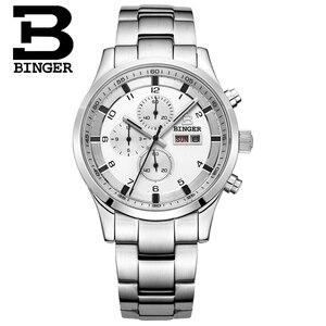 Image 4 - Switzerland Mens Watches Sapphire BINGER Watch Men Brand Luxury Quartz Male Watch Waterproof Luminous Wristwatches Chronograph