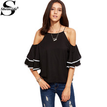 Sheinside Cold Shoulder Blouse Women Black Contrast Trim Ruffle Sleeve Cute Summer Tops 2017 Fashion New Sexy Casual Cami Blouse