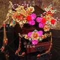 Accesorios para el cabello de la boda de la novia de la boda del cordón Rojo Dorado Tiaras Rosa chino botón fotografía 3 piezas
