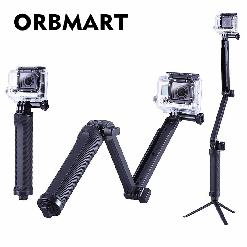 ORBMART Multi 3-voies Monopod Pliage Extension Grip Bras Portable Magic Mount Selfie Bâton Pour GoPro Hero 4 3+ 3 SJ4000 Xiaomi Yi