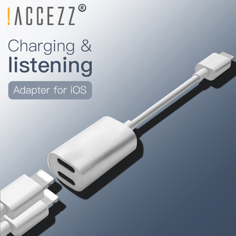 !ACCEZZ <font><b>2</b></font> <font><b>in</b></font> <font><b>1</b></font> Dual Lighting Adapter Connertor Charging Listen Audio For <font><b>iPhone</b></font> X 7 8 plus Earphone Aux Splitter <font><b>Cable</b></font> Converter image