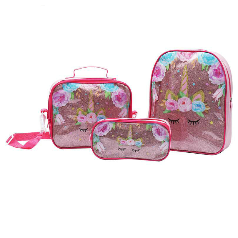 New Fashion Unicorn Princess Girls School Bag With Lunch Set For Children Elementary Primary School Backpack Bags